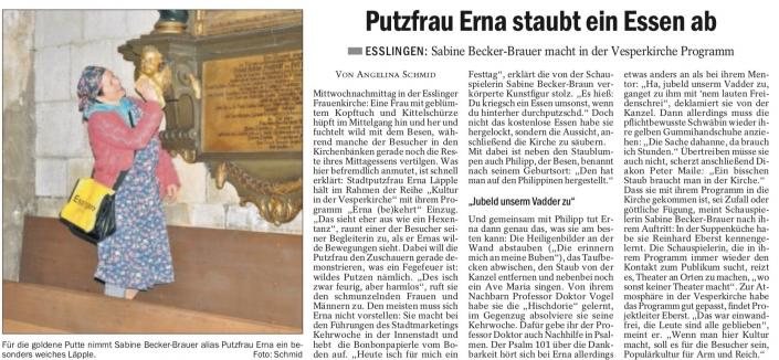 Stadtputzfrau Erna Läpple in der Esslinger Versperkirche