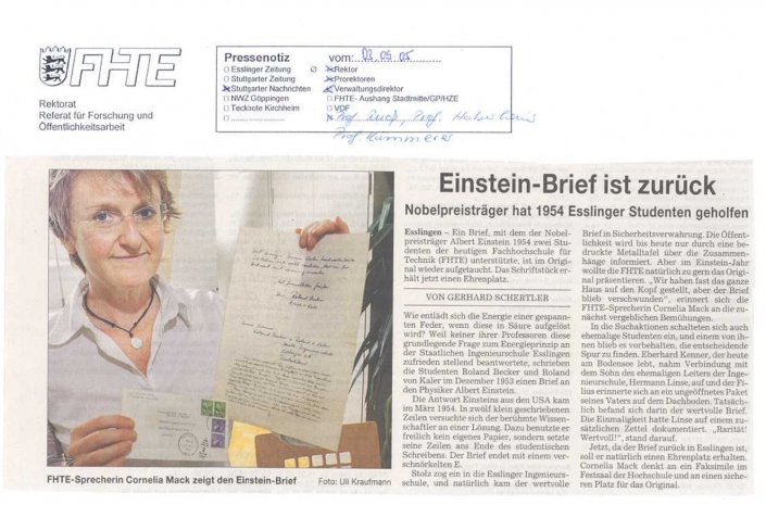 Einsteinbrief Esslingen Hochschule